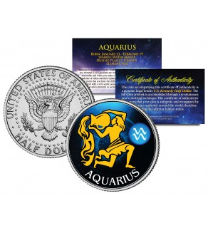 AQUARIUS - Horoscope Astrology Zodiac - JFK Kennedy Half Dollar US Colorized Coin