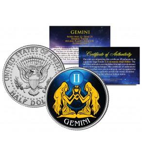 GEMINI - Horoscope Astrology Zodiac - JFK Kennedy Half Dollar US Colorized Coin