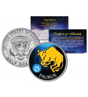 TAURUS - Horoscope Astrology Zodiac - JFK Kennedy Half Dollar US Colorized Coin
