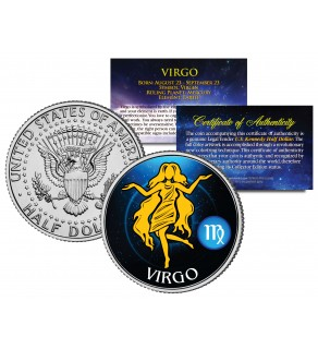 VIRGO - Horoscope Astrology Zodiac - JFK Kennedy Half Dollar US Colorized Coin