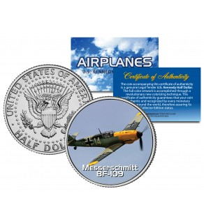 MESSERSCHMITT BF-109 - Airplane Series - JFK Kennedy Half Dollar U.S. Colorized Coin