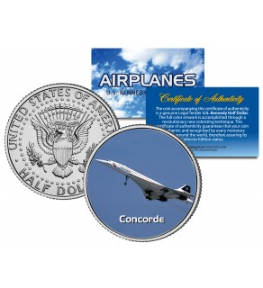 CONCORDE - Airplane Series - JFK Kennedy Half Dollar U.S. Colorized Coin