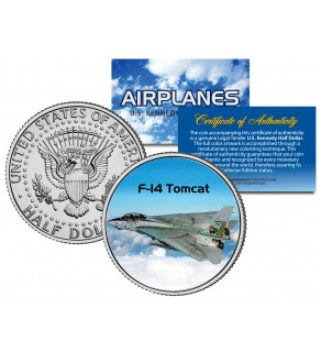 F-14 TOMCAT - Airplane Series - JFK Kennedy Half Dollar U.S. Colorized Coin