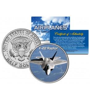 F-22 RAPTOR - Airplane Series - JFK Kennedy Half Dollar U.S. Colorized Coin