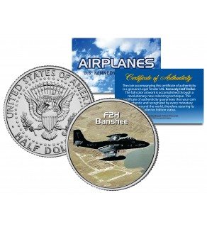 F2H BANSHEE - Airplane Series - JFK Kennedy Half Dollar U.S. Colorized Coin