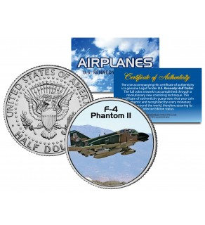 F-4 PHANTOM II - Airplane Series - JFK Kennedy Half Dollar U.S. Colorized Coin