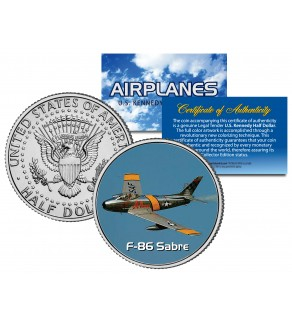 F-86 SABRE - Airplane Series - JFK Kennedy Half Dollar U.S. Colorized Coin