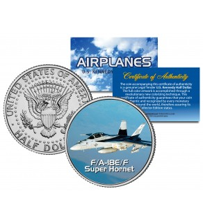 F/A-18E/F SUPER HORNET - Airplane Series - JFK Kennedy Half Dollar U.S. Colorized Coin