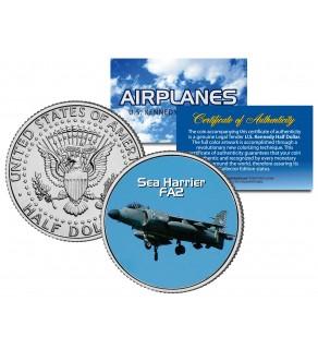 SEA HARRIER FA2  - Airplane Series - JFK Kennedy Half Dollar U.S. Colorized Coin
