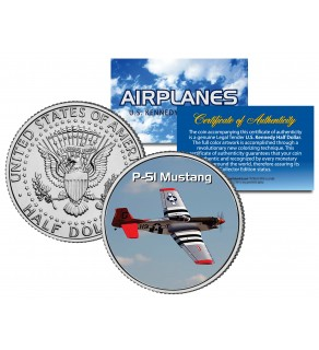 P-51 MUSTANG - Airplane Series - JFK Kennedy Half Dollar U.S. Colorized Coin