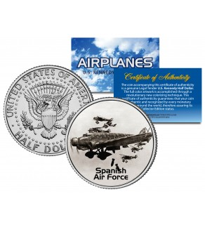 SPANISH AIR FORCE - Airplane Series - JFK Kennedy Half Dollar U.S. Colorized Coin