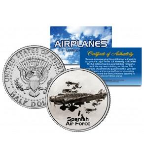 SPANISH AIR FORCE - Airplane Series - JFK Kennedy Half Dollar U.S. Colorized Coin