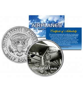 SPIRIT OF ST. LOUIS - Airplane Series - JFK Kennedy Half Dollar U.S. Colorized Coin