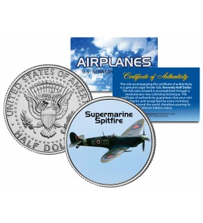 SUPERMARINE SPITFIRE - Airplane Series - JFK Kennedy Half Dollar U.S. Colorized Coin