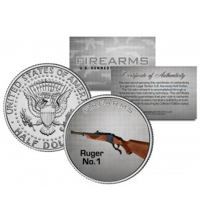RUGER No. 1 Gun Firearm Rifle Sturm JFK Kennedy Half Dollar US Colorized Coin