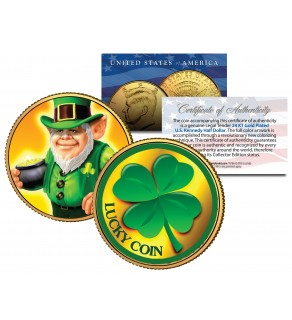 LEPRECHAUN Four Leaf Clover JFK Kennedy Half Dollar 24K Gold Plated LUCKY COIN St Patrick's Day