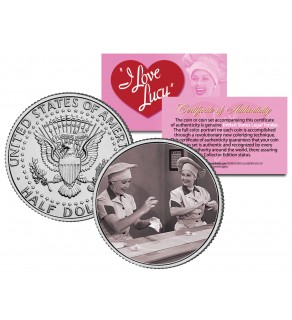 I Love Lucy - The Chocolate Scene - JFK Kennedy Half Dollar US Coin - Lucille Ball - Officially Licensed
