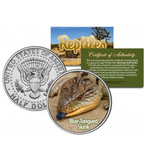 BLUE-TONGUED SKINK - Collectible Reptiles - JFK Kennedy Half Dollar US Colorized Coin LIZARD