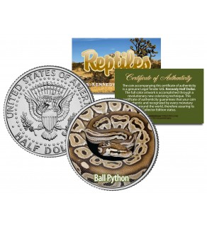 BALL PYTHON - Collectible Reptiles - JFK Kennedy Half Dollar US Coin ROYAL SNAKE REGIUS