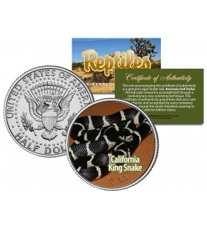 CALIFORNIA KING SNAKE - Collectible Reptiles - JFK Kennedy Half Dollar Colorized US Coin