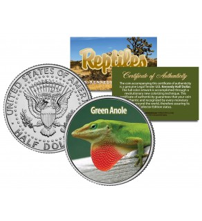 GREEN ANOLE - Collectible Reptiles - JFK Kennedy Half Dollar U.S. Colorized Coin CAROLINA LIZARD