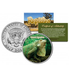 GREEN IGUANA - Collectible Reptiles - JFK Kennedy Half Dollar US Colorized Coin LIZARD