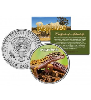 LEOPARD GECKO - Collectible Reptiles - JFK Kennedy Half Dollar US Colorized Coin LIZARD