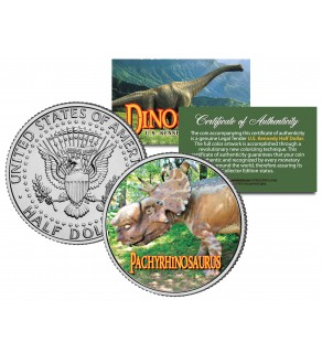 PACHYRHINOSAURUS Collectible Dinosaur JFK Kennedy Half Dollar U.S. Colorized Coin