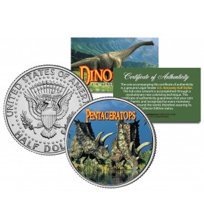 PENTACERATOPS Collectible Dinosaur JFK Kennedy Half Dollar US Colorized Coin