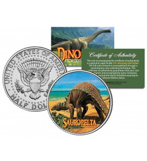 SAUROPELTA Collectible Dinosaur JFK Kennedy Half Dollar U.S. Colorized Coin