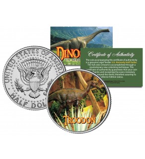 TROODON Collectible Dinosaur JFK Kennedy Half Dollar U.S. Colorized Coin