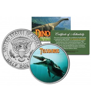 TYLOSAURUS Collectible Dinosaur JFK Kennedy Half Dollar Colorized Coin MOSASAUR Lizard