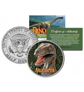 VELOCIRAPTOR Collectible Dinosaur JFK Kennedy Half Dollar US Colorized Coin