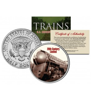 20th CENTURY LIMITED - Famous Trains - JFK Kennedy Half Dollar U.S. Colorized Coin