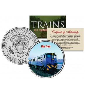 BLUE TRAIN - Famous Trains - JFK Kennedy Half Dollar U.S. Colorized Coin