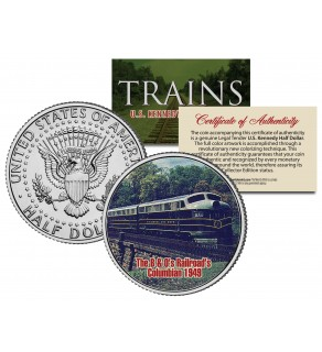 B&O RAILROAD's COLUMBIAN 1949 - Famous Trains - JFK Kennedy Half Dollar U.S. Colorized Coin