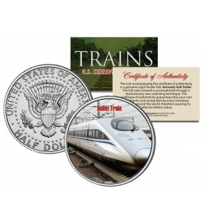 BULLET TRAIN - Famous Trains - JFK Kennedy Half Dollar U.S. Colorized Coin