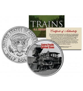 CENTRAL PACIFIC RAILROAD STEAM - Famous Trains - JFK Kennedy Half Dollar U.S. Colorized Coin
