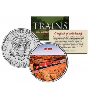 THE GHAN TRAIN - Famous Trains - JFK Kennedy Half Dollar U.S. Colorized Coin