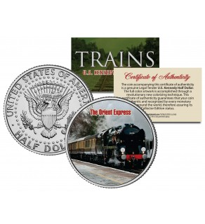 THE ORIENT EXPRESS TRAIN - Famous Trains - JFK Kennedy Half Dollar U.S. Colorized Coin