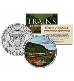 TRANS-SIBERIAN EXPRESS - Famous Trains - JFK Kennedy Half Dollar U.S. Colorized Coin