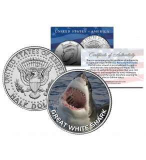 "GREAT WHITE SHARK "" Jumping Out of Water "" JFK Kennedy Half Dollar US Colorized Coin"