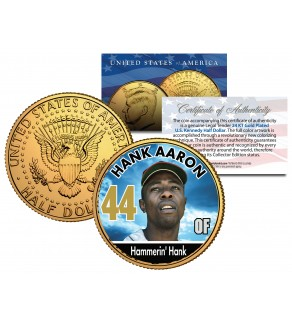 HANK AARON Baseball Legends JFK Kennedy Half Dollar 24K Gold Plated US Coin