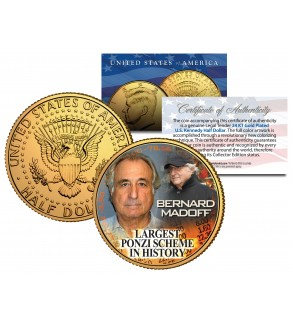 "BERNARD MADOFF 24K Gold Plated JFK Kennedy Half Dollar US Coin "" LARGEST PONZI SCHEME """