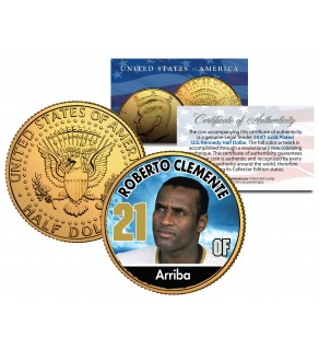 ROBERTO CLEMENTE Baseball Legends JFK Kennedy Half Dollar 24K Gold Plated US Coin