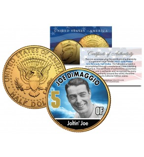 JOE DIMAGGIO Baseball Legends JFK Kennedy Half Dollar 24K Gold Plated US Coin