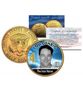 LOU GEHRIG Baseball Legends JFK Kennedy Half Dollar 24K Gold Plated US Coin
