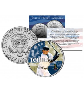 ICHIRO SUZUKI Collectible JFK Kennedy Half Dollar Colorized U.S. Coin SEATTLE MARINERS