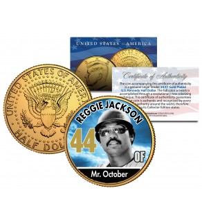 REGGIE JACKSON Baseball Legends JFK Kennedy Half Dollar 24K Gold Plated US Coin