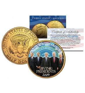 LIVING PRESIDENTS 24K Gold Plated JFK Kennedy Half Dollar Coin OBAMA BUSH CLINTON Jimmy CARTER